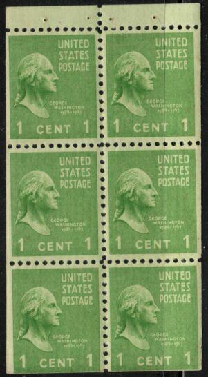 US Stamp # 804b MNH – George Washington 2.5mm Booklet Pane