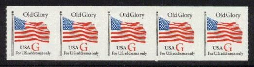 US Stamp #2892 MNH – Red 'G' Rate – Coil Strip of 5