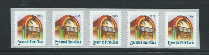US Stamp #2912A MNH – Jukebox Coil Strip of 5 w/ Back Number