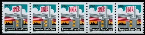 US Stamp #3208 MNH – Diner – Strip of 5 w/ Back Number