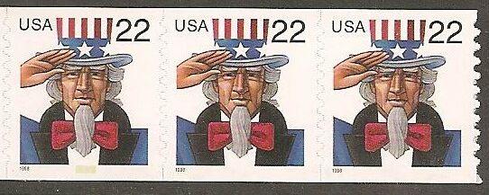 US Stamp #3263 MNH – Uncle Sam Coil strip of 3