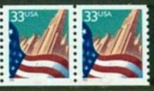US Stamp #3280 MNH – Flag Over City Coil Pair (Small Date)