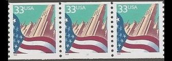 US Stamp #3280 MNH – Flag Over City Coil strip of 3 (Small Date)