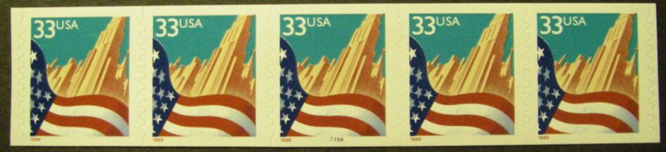 US Stamp #3281c MNH – Flag Over City Coil strip of 5 (Small Date)