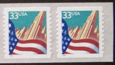 US Stamp #3282 MNH – Flag Over City Coil Pair