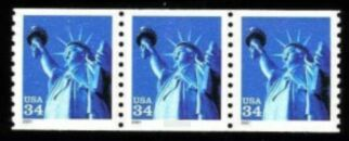 US Stamp #3452 MNH – Statue of Liberty Coil Strip of 3