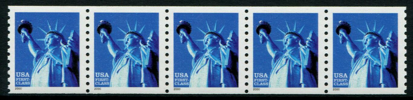 US Stamp #3452 MNH – Statue of Liberty Coil Strip of 5