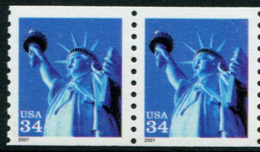 US Stamp #3476 MNH – Statue of Liberty Coil Pair