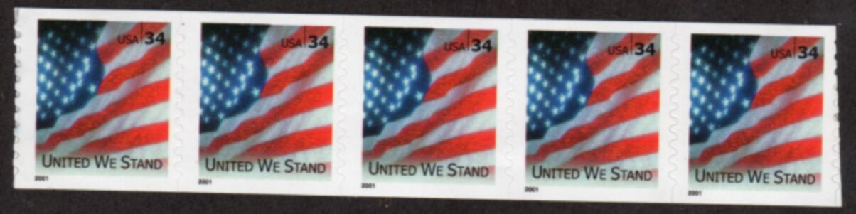 US Stamp #3550 MNH – United We Stand – Coil Strip of 5