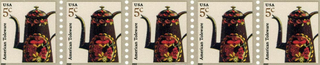 US Stamp #3612 MNH – Coffee Pot – Coil Strip of 5 w/ Back #