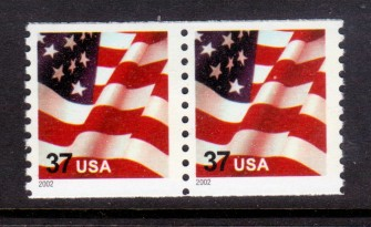 US Stamp #3631 MNH – US Flag – Coil Pair