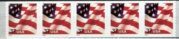 US Stamp #3632 MNH – US Flag – Coil Strip of 5