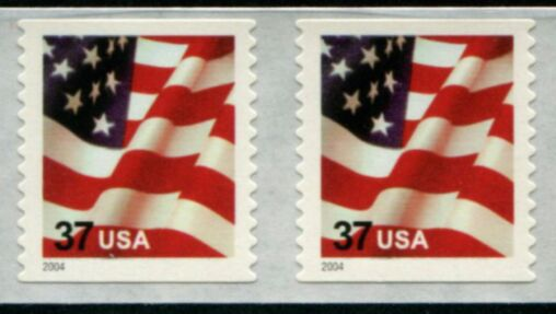 US Stamp #3632C MNH – US Flag – Coil Pair
