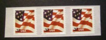 US Stamp #3632C MNH – US Flag – Coil Strip of 3