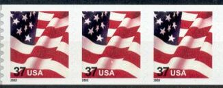 US Stamp #3632A MNH – US Flag – Coil Strip of 3