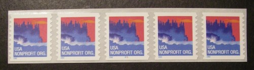 US Stamp #3693 MNH – Seacoast – Strip of 5 w/ Back Number