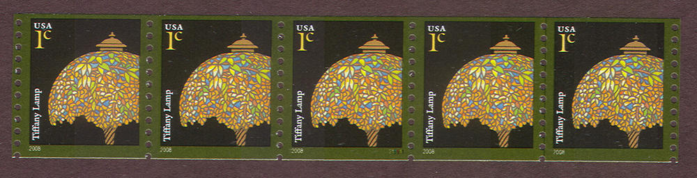 US Stamp #3758A MNH – Tiffany Lamp – Coil Strip of 5