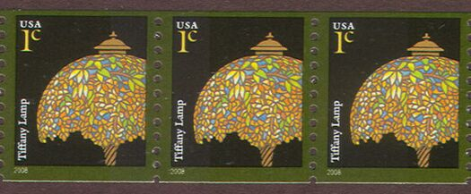 US Stamp #3758A MNH – Tiffany Lamp – Coil Strip of 3