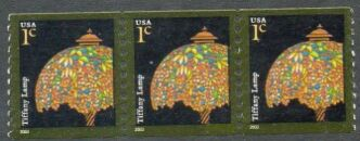 US Stamp #3758 MNH – Tiffany Lamp – Coil Strip of 3