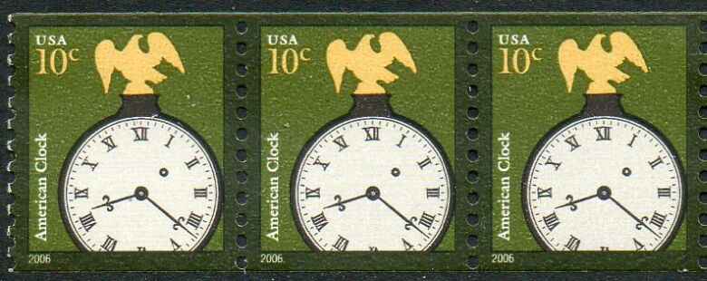 US Stamp #3762 MNH – Clock – Coil Strip of 3