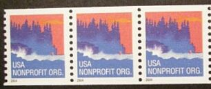 US Stamp #3864 MNH – Seacoast – Coil Strip of 3 w/ Back #