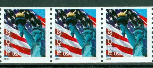 US Stamp #3967 MNH – Non-Den. Flag w/ Liberty Coil Strip of 3