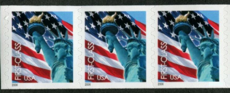 US Stamp #3968 MNH – Non-Den. Flag w/ Liberty Coil Strip of 3