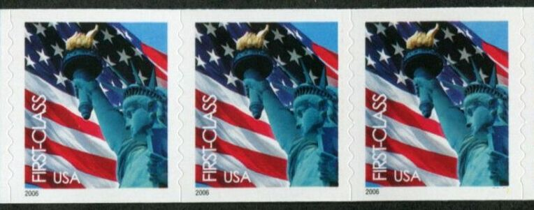 US Stamp #3970 MNH – Non-Den. Flag w/ Liberty Coil Strip of 3