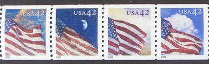 US Stamp #4231a MNH – Se-Tenant 24 Hr. US Flag – Coil Strip of 4