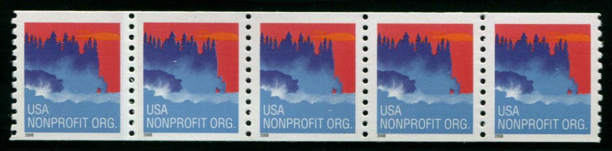 US Stamp #4348 MNH – Seacoast – Coil Strip of 5 w/ Back #