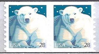 US Stamp #4389 MNH – Polar Bear – P/V Coil Pair