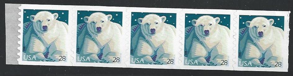 US Stamp #4389 MNH Polar Bear P/V Coil Strip of 5