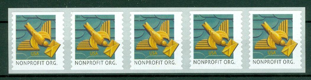 US Stamp #4495 MNH – Art Deco Bird – Coil Strip of 5