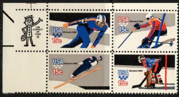 US Stamp #1795-8 MNH Winter Olympics Se-Tenant ZIP Block / 4