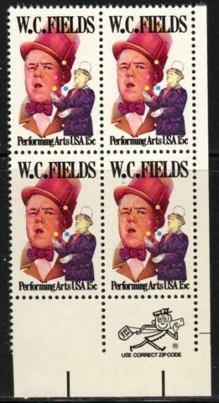 US Stamp #1803 MNH W. C. Fields ZIP Block / 4