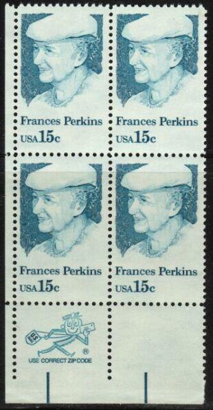 US Stamp #1821 MNH Frances Perkins ZIP Block / 4