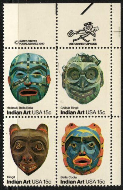 US Stamp #1834-7 MH Indian Art Se-Tenant ZIP Block / 4