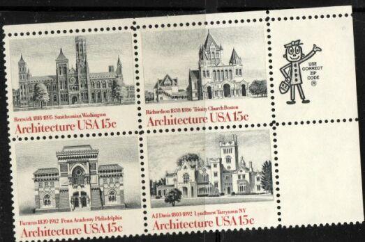 US Stamp #1838-41 MH Architecture ZIP Block / 4