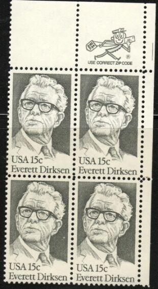 US Stamp #1874 MNH Everett Dirksen ZIP Block / 4