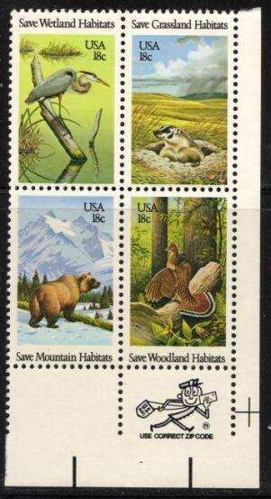 US Stamp #1921-4 MNH Saving Habitats Se-Tenant ZIP Block / 4