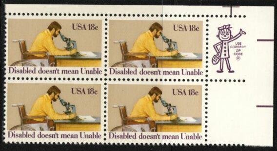US Stamp #1925 MNH – Disabled ZIP Block of 4