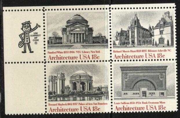 US Stamp #1928-31 MNH – Architecture ZIP Block of 4