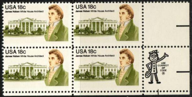 US Stamp #1935 MNH – James Hoban ZIP Block of 4