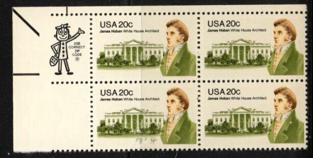 US Stamp #1936 MNH – James Hoban ZIP Block of 4