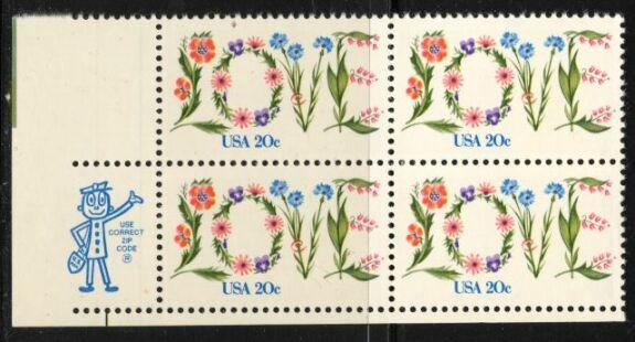US Stamp #1951 MNH – LOVE – ZIP Block / 4