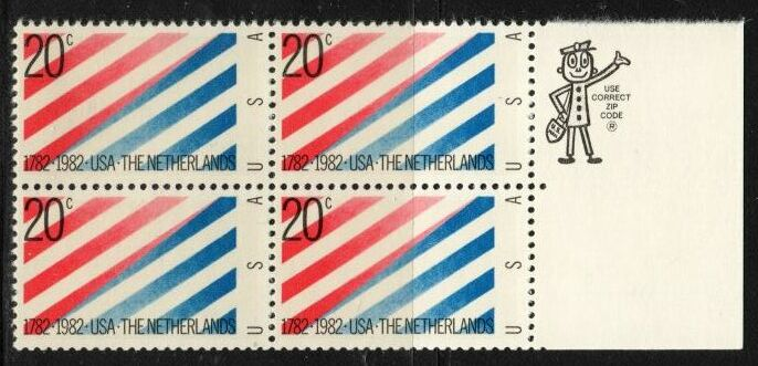 US Stamp #2003 MNH – US and Netherlands – ZIP Block / 4