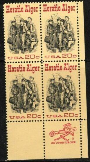 US Stamp #2010 MNH – Horatio Alger – ZIP Block / 4