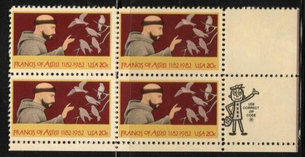 US Stamp #2023 MNH – Frances of Assissi – ZIP Block / 4