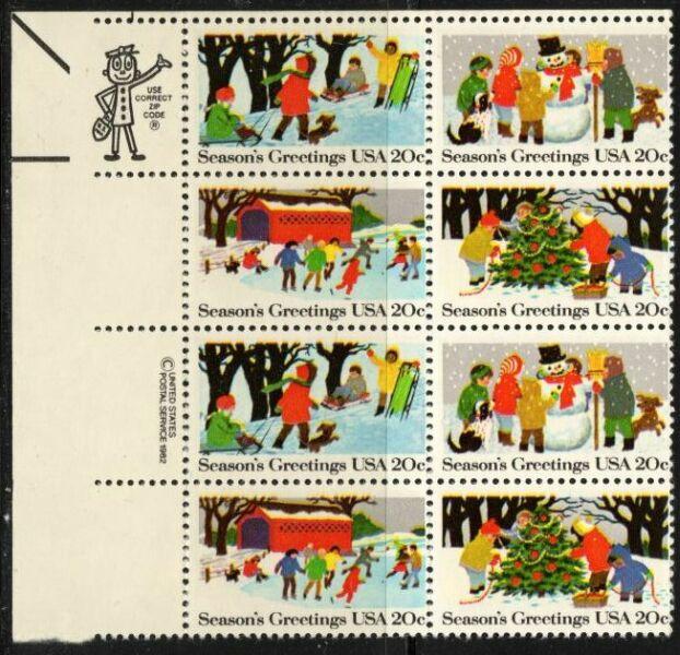 US Stamp #2027-30 MNH – Christmas Se-Tenant ZIP/MI Block / 8