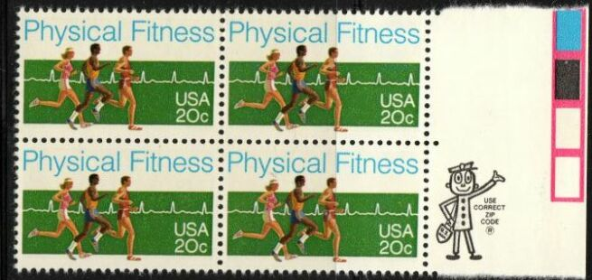 US Stamp #2043 MNH – Physical Fitness – ZIP Block / 4